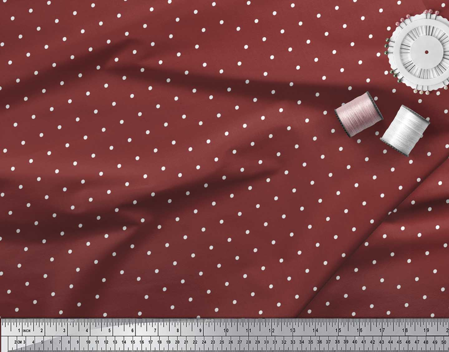 Soimoi-Red-Cotton-Poplin-Fabric-Dots-Dots-Print-Fabric-by-the-metre-DBh thumbnail 3