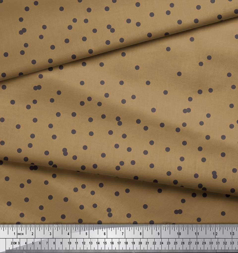 Soimoi-Brown-Cotton-Poplin-Fabric-Dots-Dots-Print-Fabric-by-the-3KZ thumbnail 4