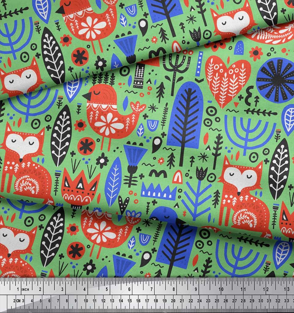 Soimoi-Green-Cotton-Poplin-Fabric-Tree-amp-Fox-Folk-Art-Fabric-Prints-G1q thumbnail 3