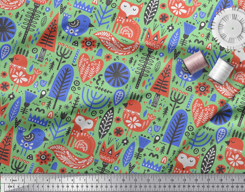 Soimoi-Green-Cotton-Poplin-Fabric-Tree-amp-Fox-Folk-Art-Fabric-Prints-G1q thumbnail 4