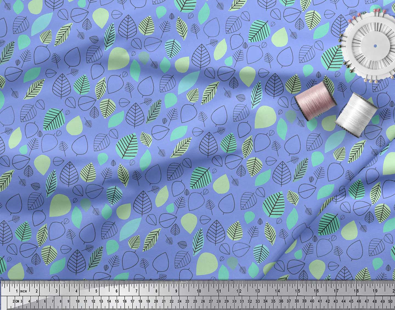 Soimoi-Blue-Cotton-Poplin-Fabric-Leaves-Folk-Art-Fabric-Prints-By-qeA thumbnail 4