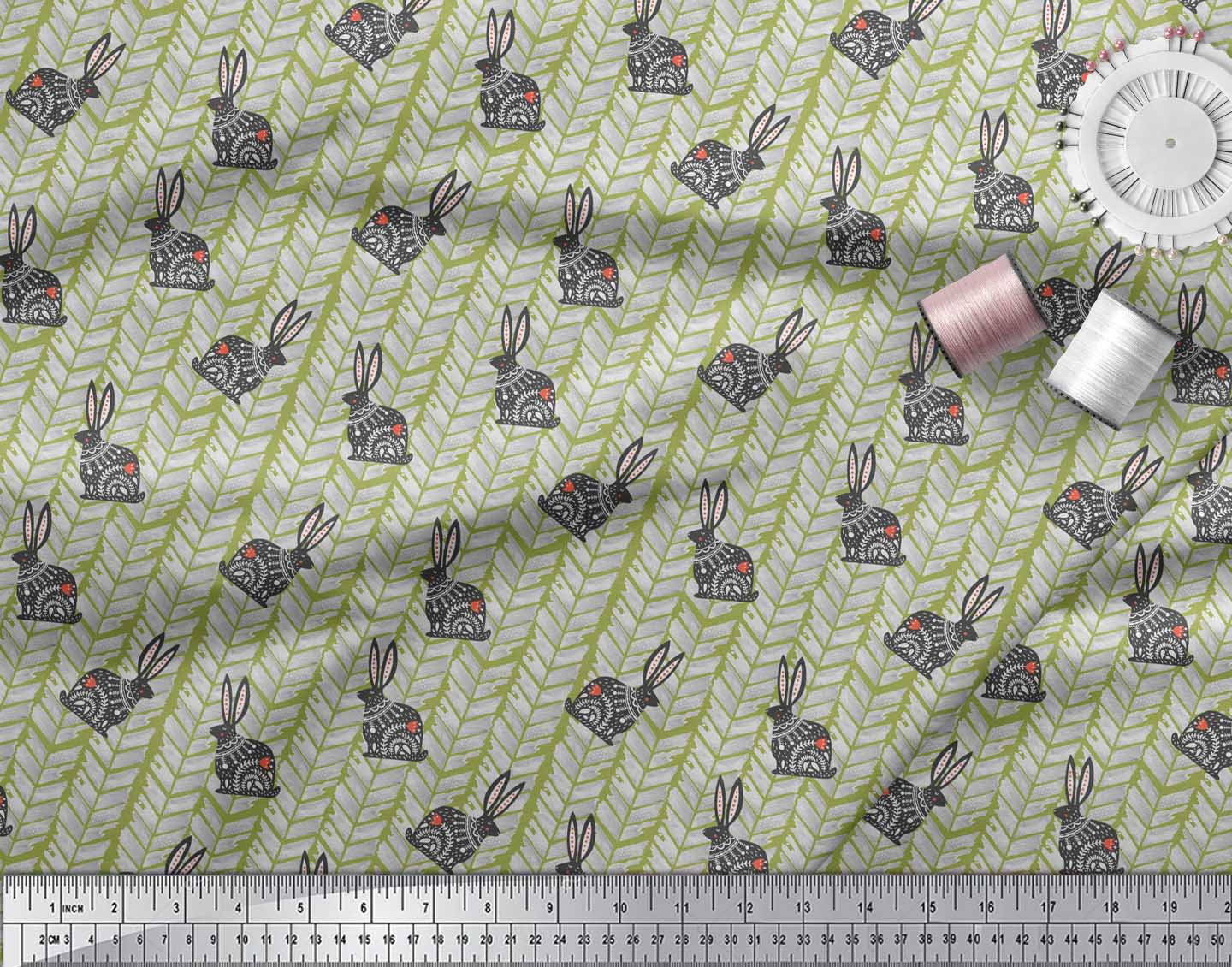 Soimoi-Green-Cotton-Poplin-Fabric-Chevron-amp-Rabbit-Folk-Art-Fabric-jv8 thumbnail 3