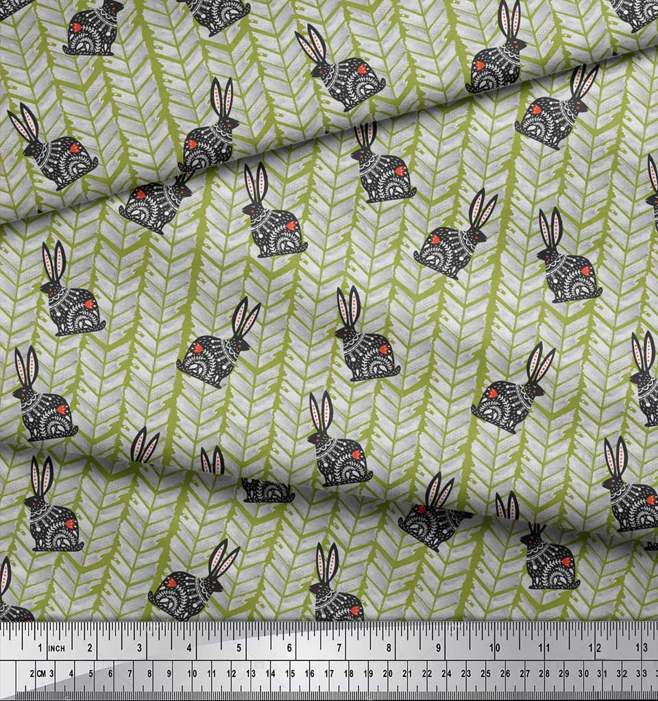 Soimoi-Green-Cotton-Poplin-Fabric-Chevron-amp-Rabbit-Folk-Art-Fabric-jv8 thumbnail 4