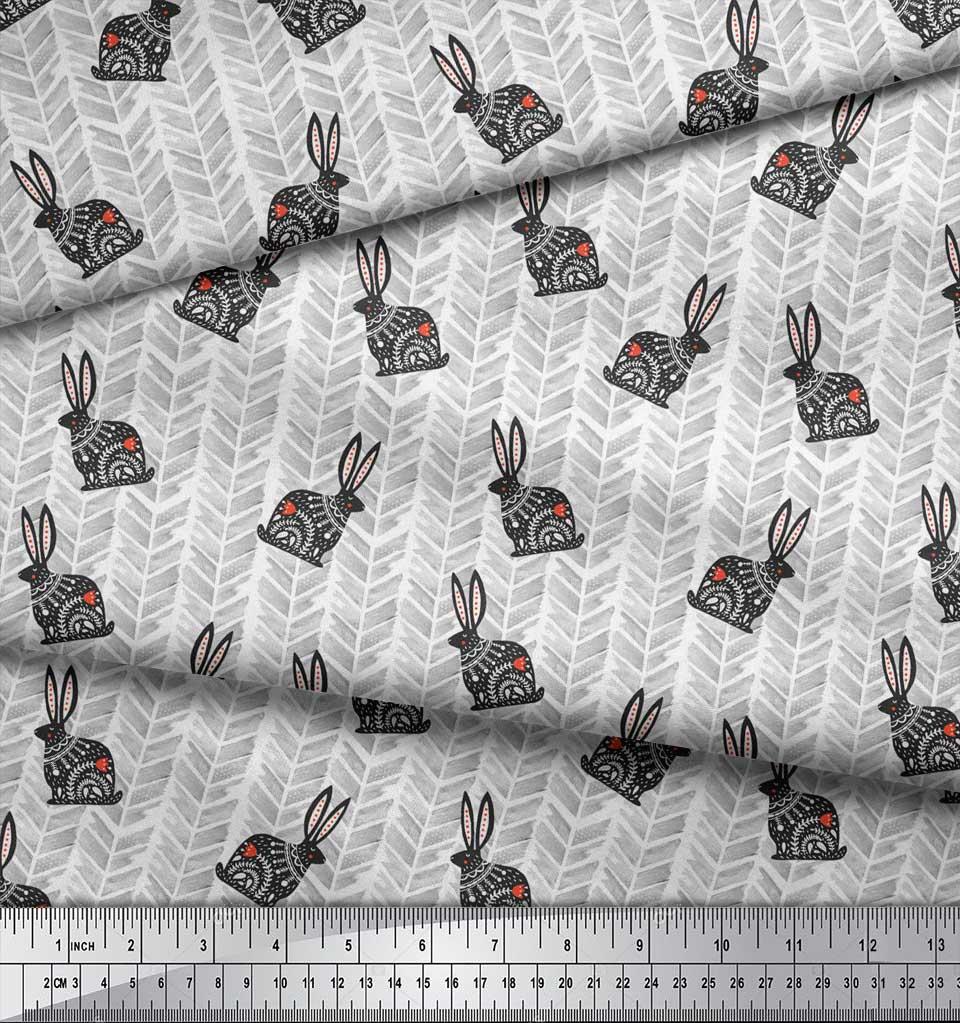 Soimoi-White-Cotton-Poplin-Fabric-Chevron-amp-Rabbit-Folk-Art-Printed-kEt thumbnail 3