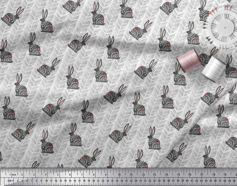 Soimoi-White-Cotton-Poplin-Fabric-Chevron-amp-Rabbit-Folk-Art-Printed-kEt thumbnail 4