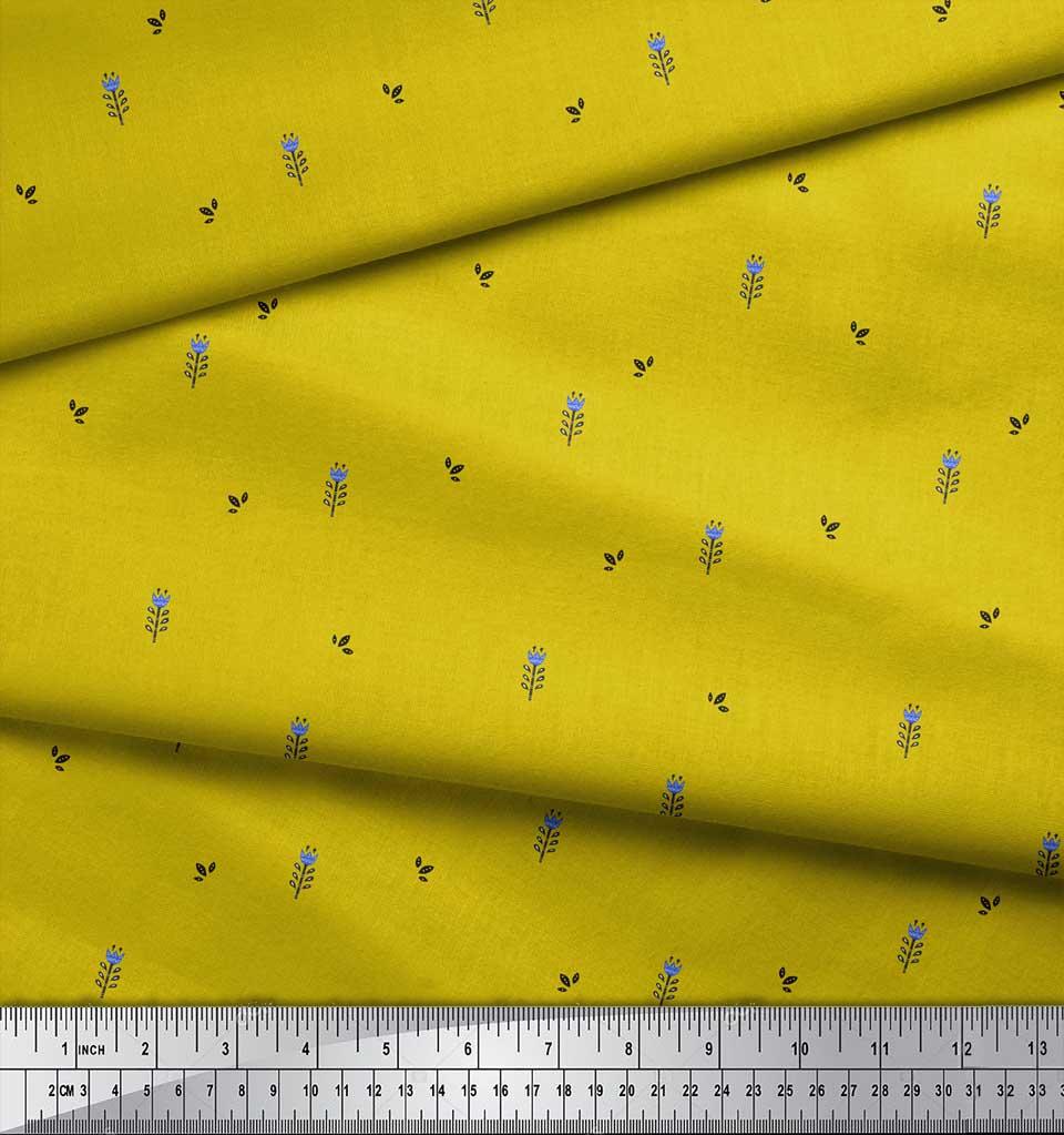 Soimoi-Yellow-Cotton-Poplin-Fabric-Leaves-amp-Floral-Folk-Art-Print-Dax thumbnail 3