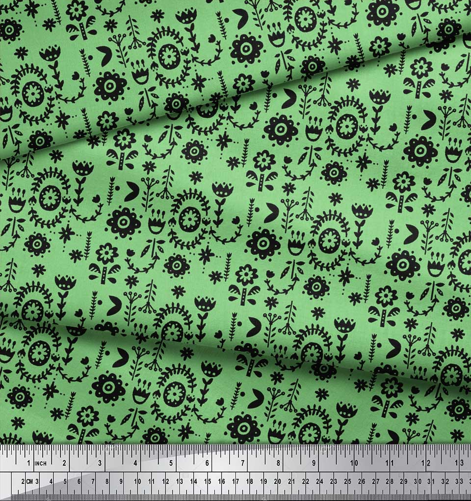 Soimoi-Green-Cotton-Poplin-Fabric-Leaves-amp-Floral-Folk-Art-Print-Nhr thumbnail 3