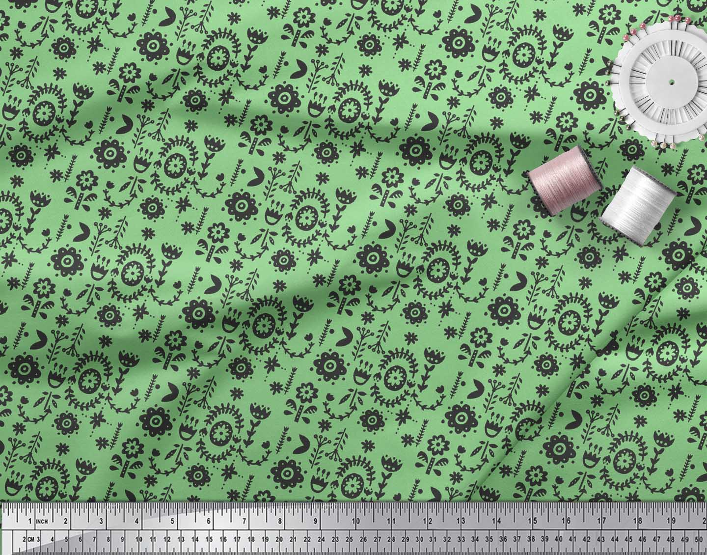 Soimoi-Green-Cotton-Poplin-Fabric-Leaves-amp-Floral-Folk-Art-Print-Nhr thumbnail 4