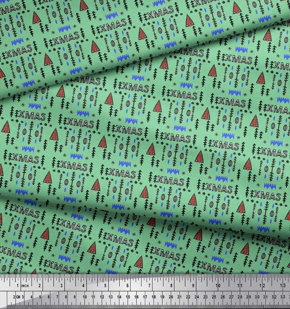 Soimoi-Green-Cotton-Poplin-Fabric-Text-amp-Christmas-Tree-Folk-Art-a4O thumbnail 4