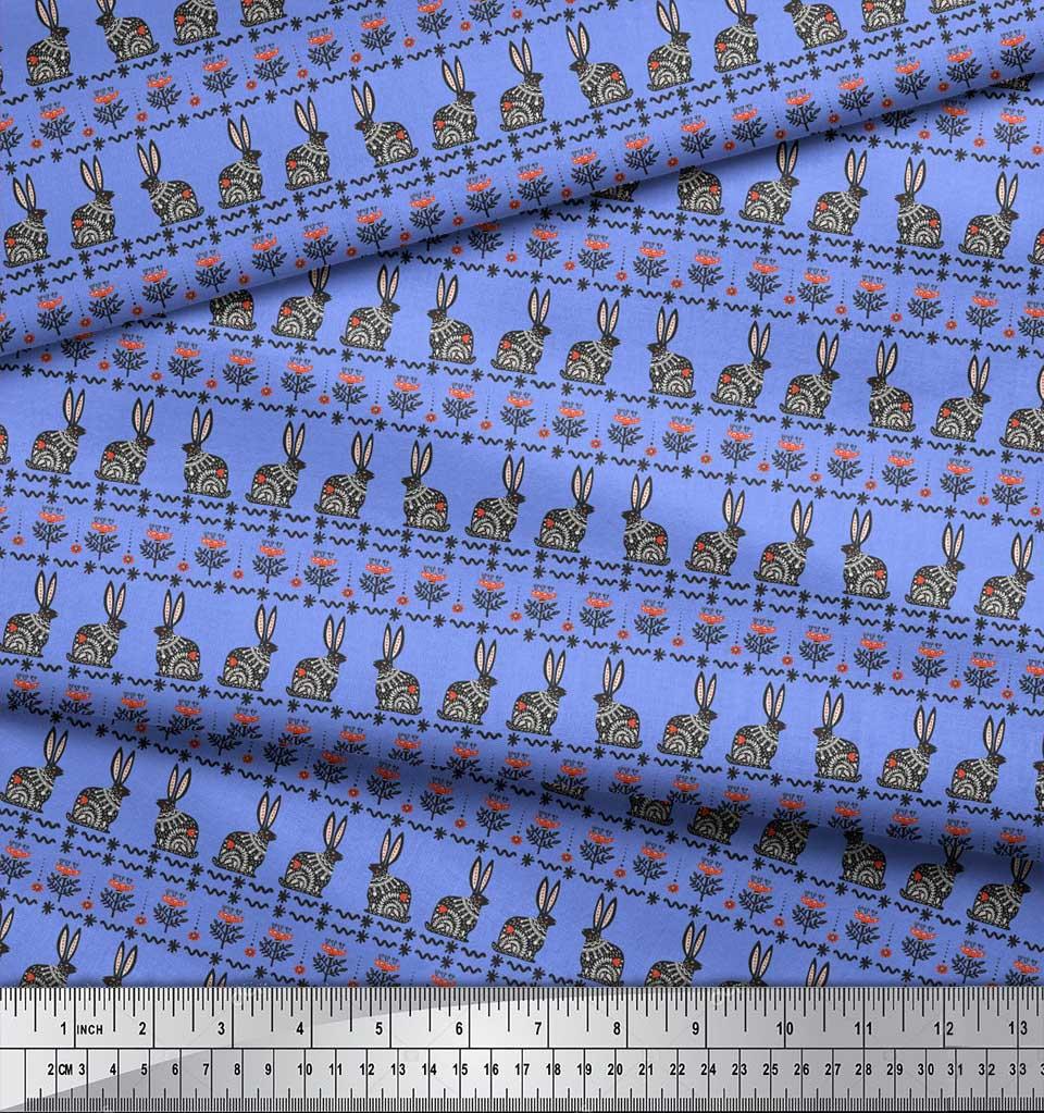 Soimoi-Blue-Cotton-Poplin-Fabric-Flower-amp-Rabbit-Folk-Art-Print-uLr thumbnail 3