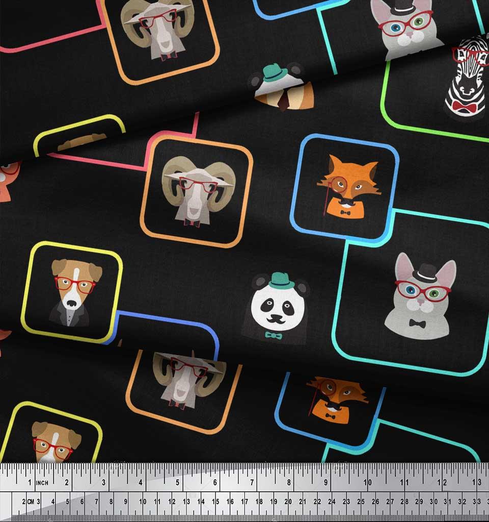Soimoi-Black-Cotton-Poplin-Fabric-Animals-Face-Print-Fabric-by-Yard-DWu thumbnail 3