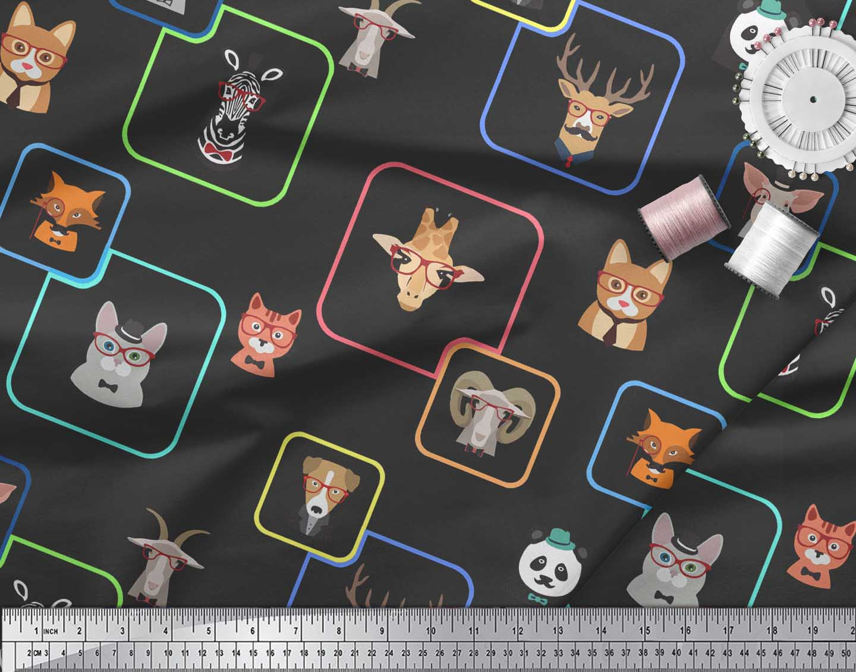 Soimoi-Black-Cotton-Poplin-Fabric-Animals-Face-Print-Fabric-by-Yard-DWu thumbnail 4