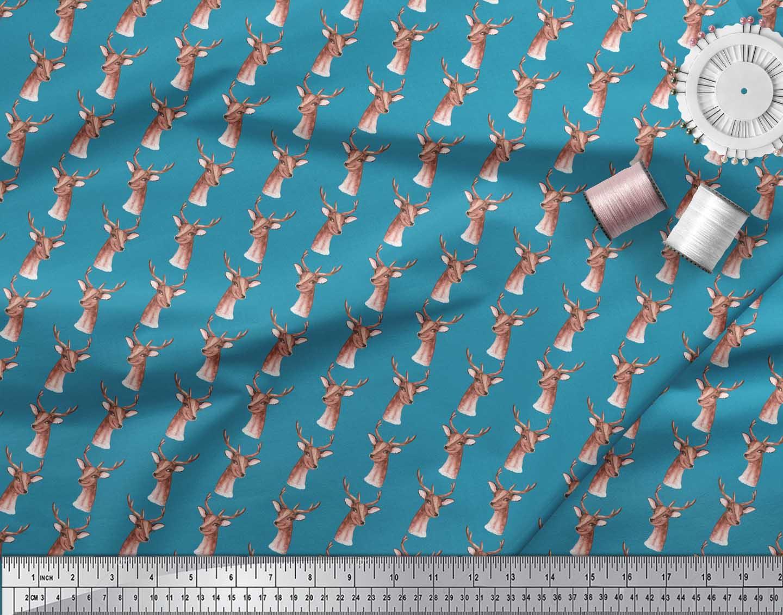 Soimoi-Blue-Cotton-Poplin-Fabric-Deer-Face-Print-Fabric-by-metre-FCZ thumbnail 3