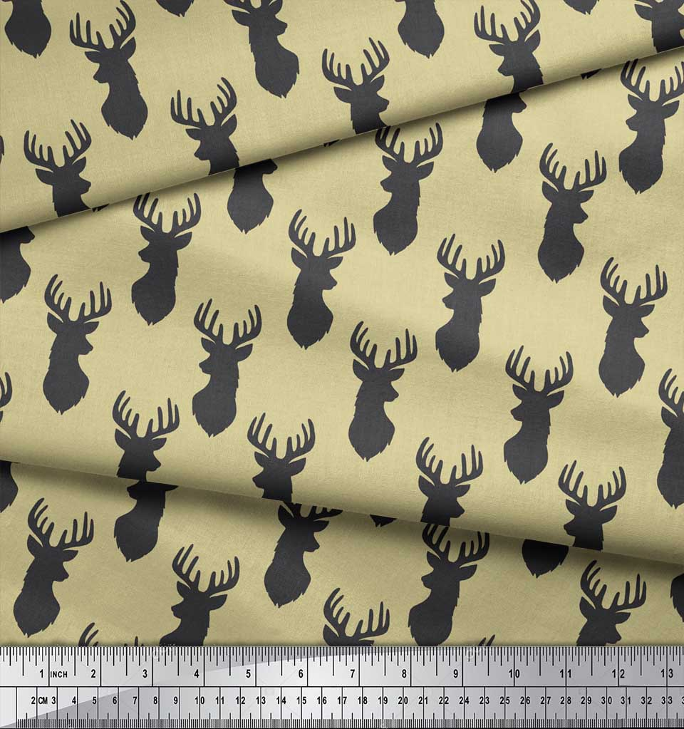 Soimoi-Beige-Cotton-Poplin-Fabric-Stencil-Elk-Mount-Face-Print-Fabric-QVL thumbnail 3