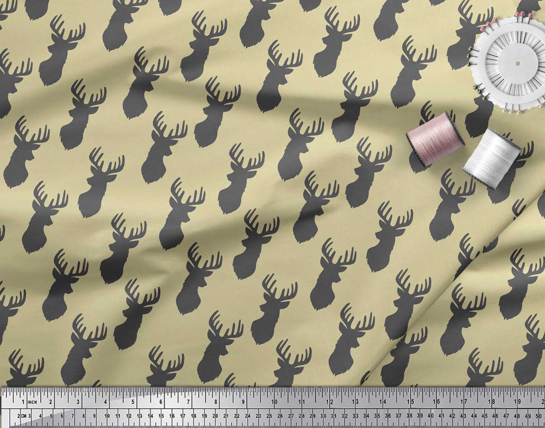Soimoi-Beige-Cotton-Poplin-Fabric-Stencil-Elk-Mount-Face-Print-Fabric-QVL thumbnail 4