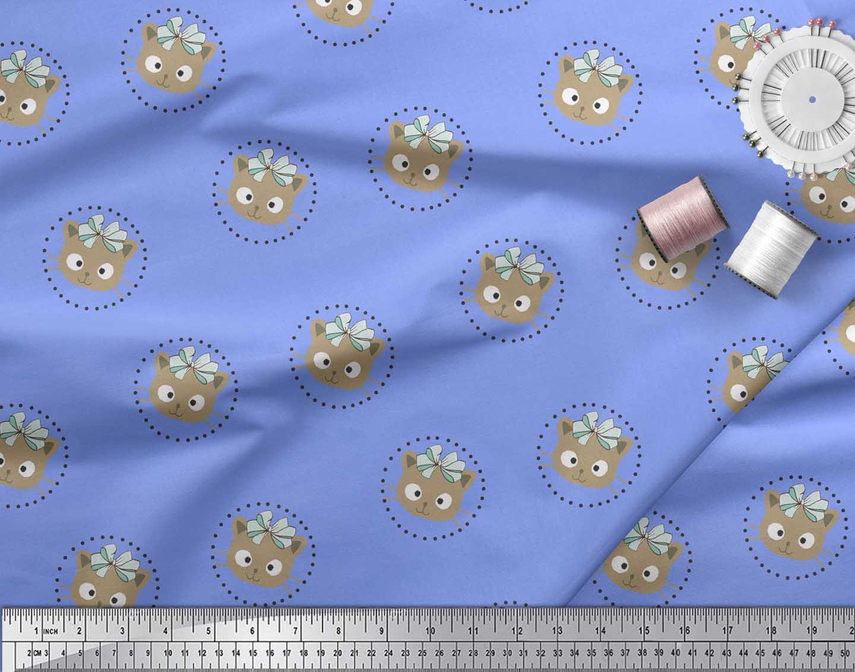 Soimoi-Blue-Cotton-Poplin-Fabric-Bow-amp-Kitty-Face-Printed-Fabric-1fr thumbnail 3