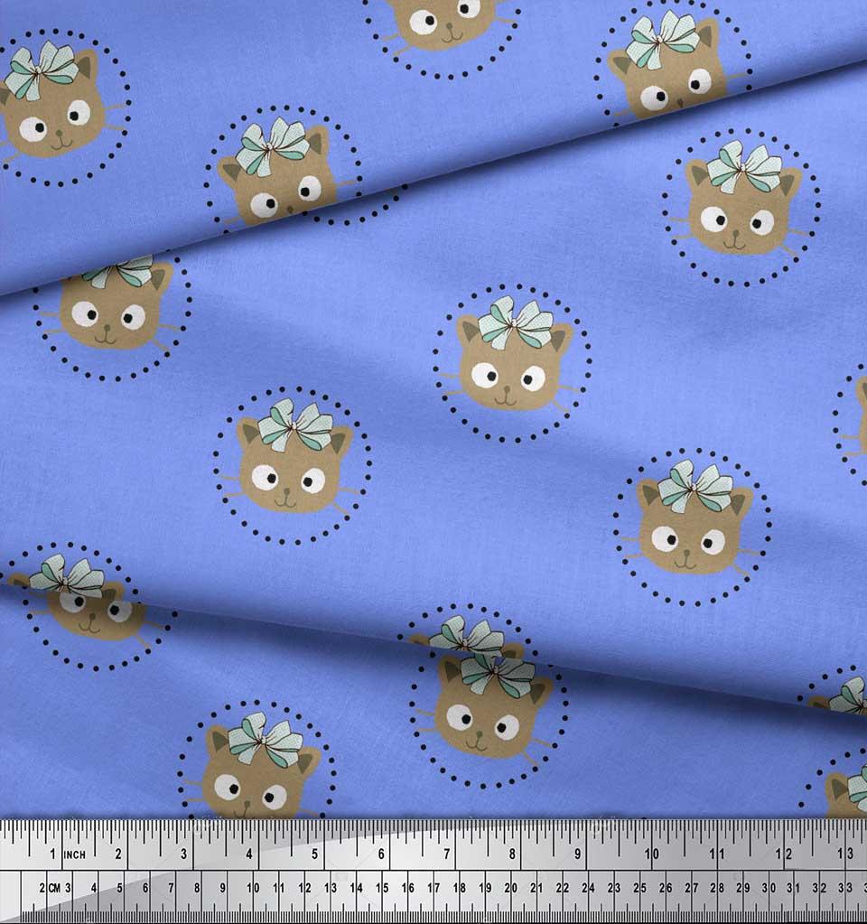 Soimoi-Blue-Cotton-Poplin-Fabric-Bow-amp-Kitty-Face-Printed-Fabric-1fr thumbnail 4