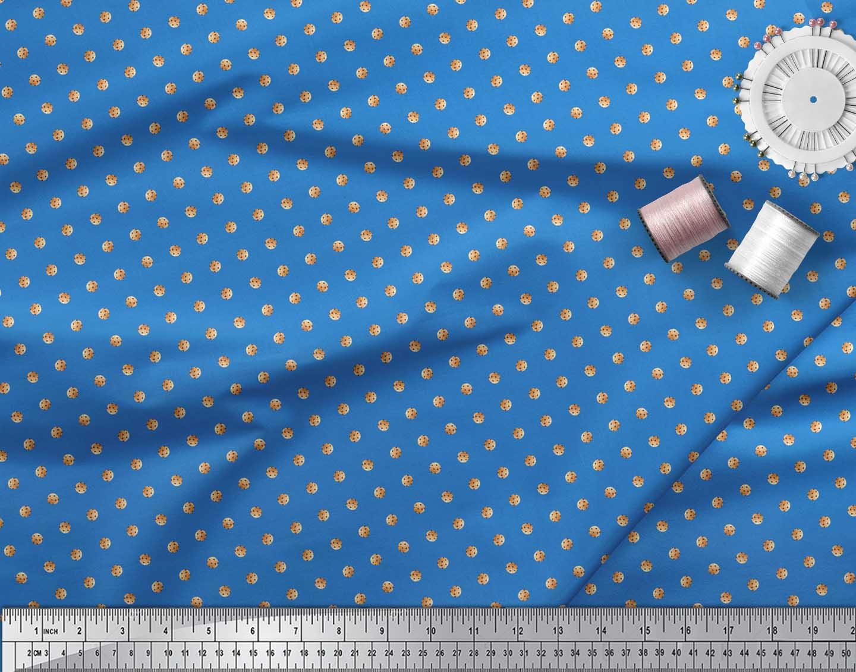 Soimoi-Blue-Cotton-Poplin-Fabric-Cookies-Food-Print-Fabric-by-the-3cF thumbnail 3