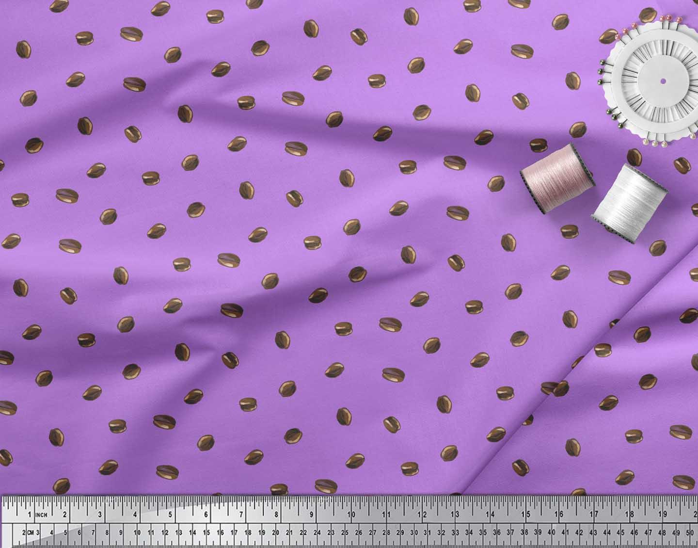 Soimoi-Purple-Cotton-Poplin-Fabric-Coffee-Beans-Food-Fabric-Prints-V9c thumbnail 4