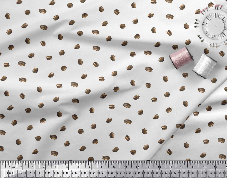 Soimoi-White-Cotton-Poplin-Fabric-Coffee-Beans-Food-Print-Sewing-92i thumbnail 4
