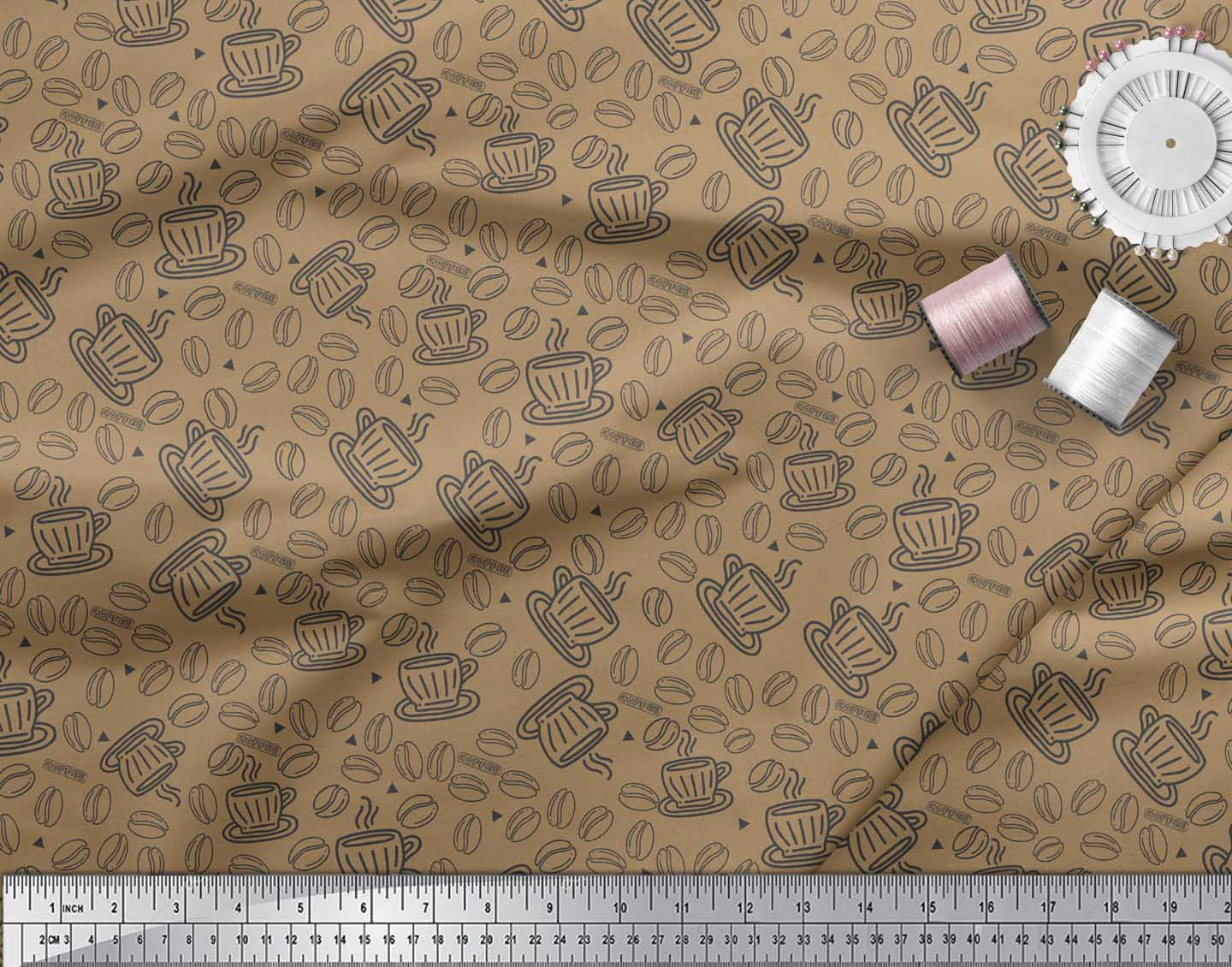 Soimoi-Brown-Cotton-Poplin-Fabric-Coffee-Food-Fabric-Prints-By-Yard-LlE thumbnail 4