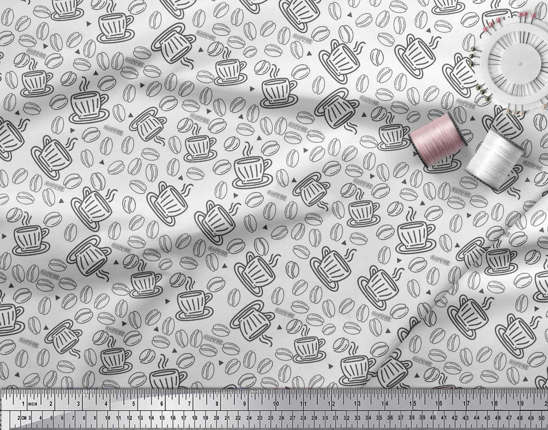 Soimoi-White-Cotton-Poplin-Fabric-Coffee-Food-Decor-Fabric-Printed-HwC thumbnail 3