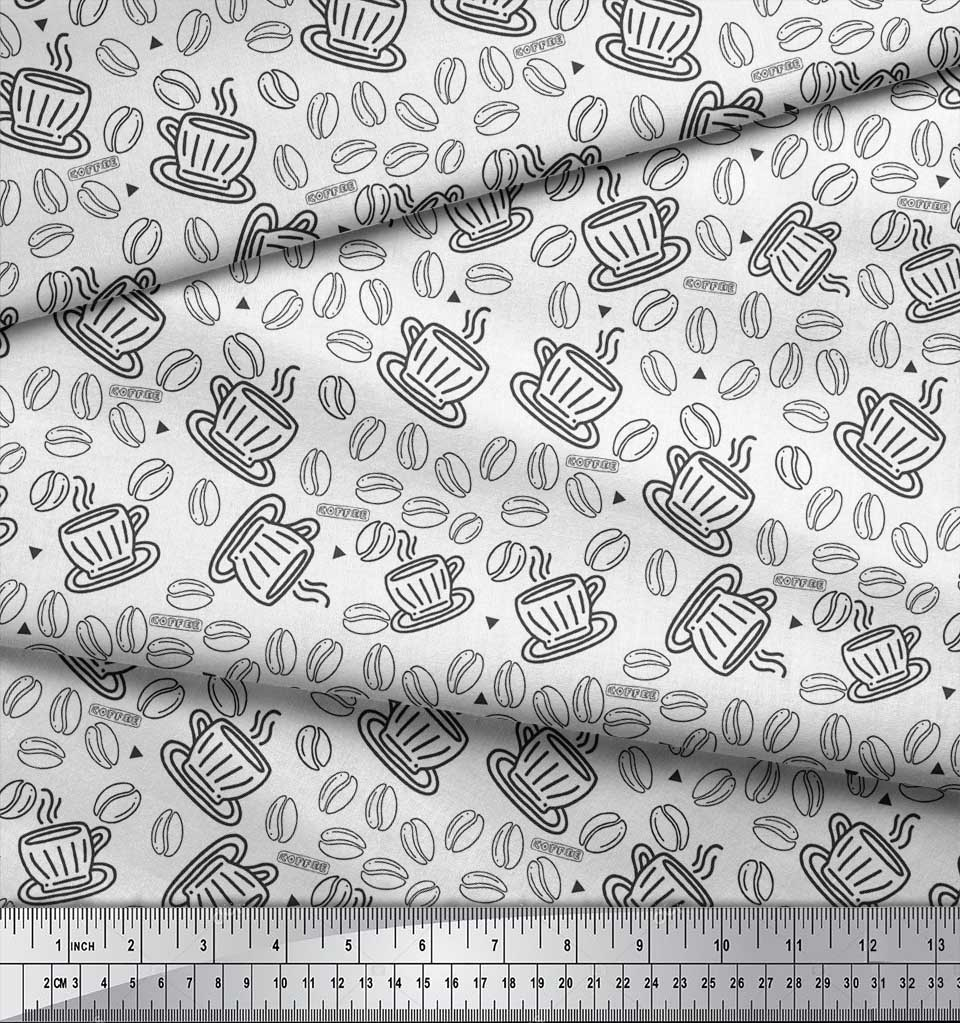 Soimoi-White-Cotton-Poplin-Fabric-Coffee-Food-Decor-Fabric-Printed-HwC thumbnail 4