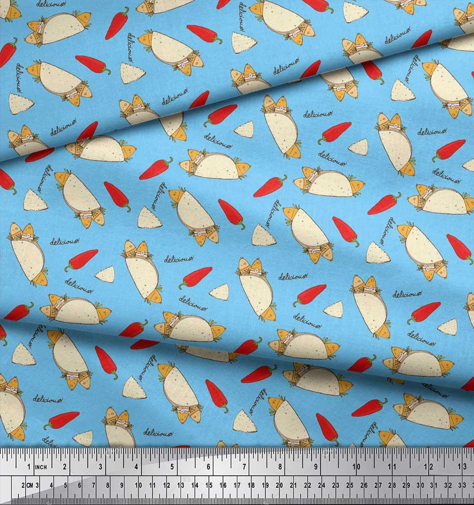 Soimoi-Blue-Cotton-Poplin-Fabric-Red-Chilli-amp-Tacos-Food-Print-Fabric-94x thumbnail 3
