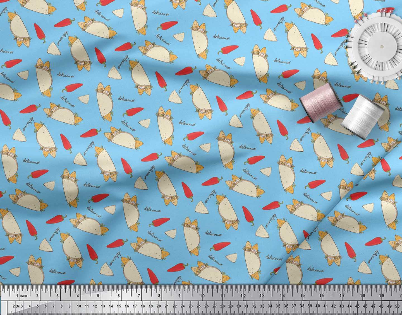 Soimoi-Blue-Cotton-Poplin-Fabric-Red-Chilli-amp-Tacos-Food-Print-Fabric-94x thumbnail 4