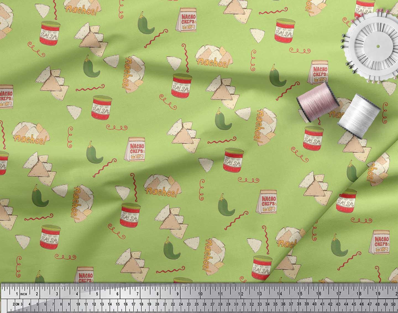 Soimoi-Green-Cotton-Poplin-Fabric-Nachos-amp-Salsa-Food-Decor-Fabric-zBT thumbnail 3