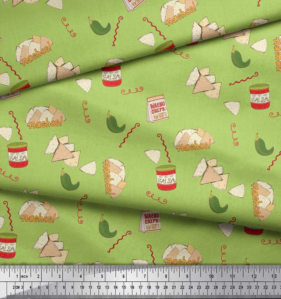 Soimoi-Green-Cotton-Poplin-Fabric-Nachos-amp-Salsa-Food-Decor-Fabric-zBT thumbnail 4