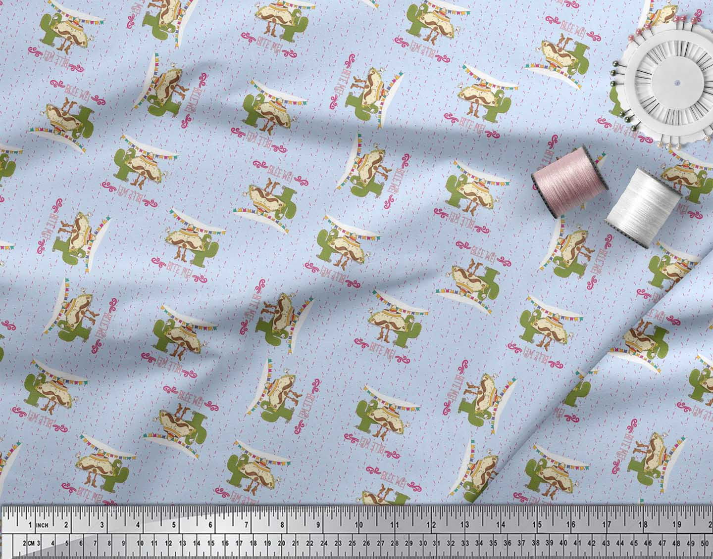 Soimoi-Blue-Cotton-Poplin-Fabric-Text-amp-Tacos-Food-Print-Fabric-OEP thumbnail 4