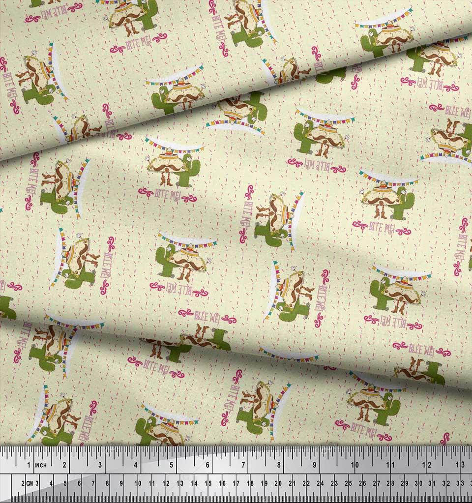 Soimoi-Yellow-Cotton-Poplin-Fabric-Text-amp-Tacos-Food-Print-Fabric-x76 thumbnail 3