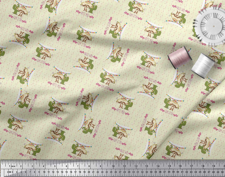 Soimoi-Yellow-Cotton-Poplin-Fabric-Text-amp-Tacos-Food-Print-Fabric-x76 thumbnail 4