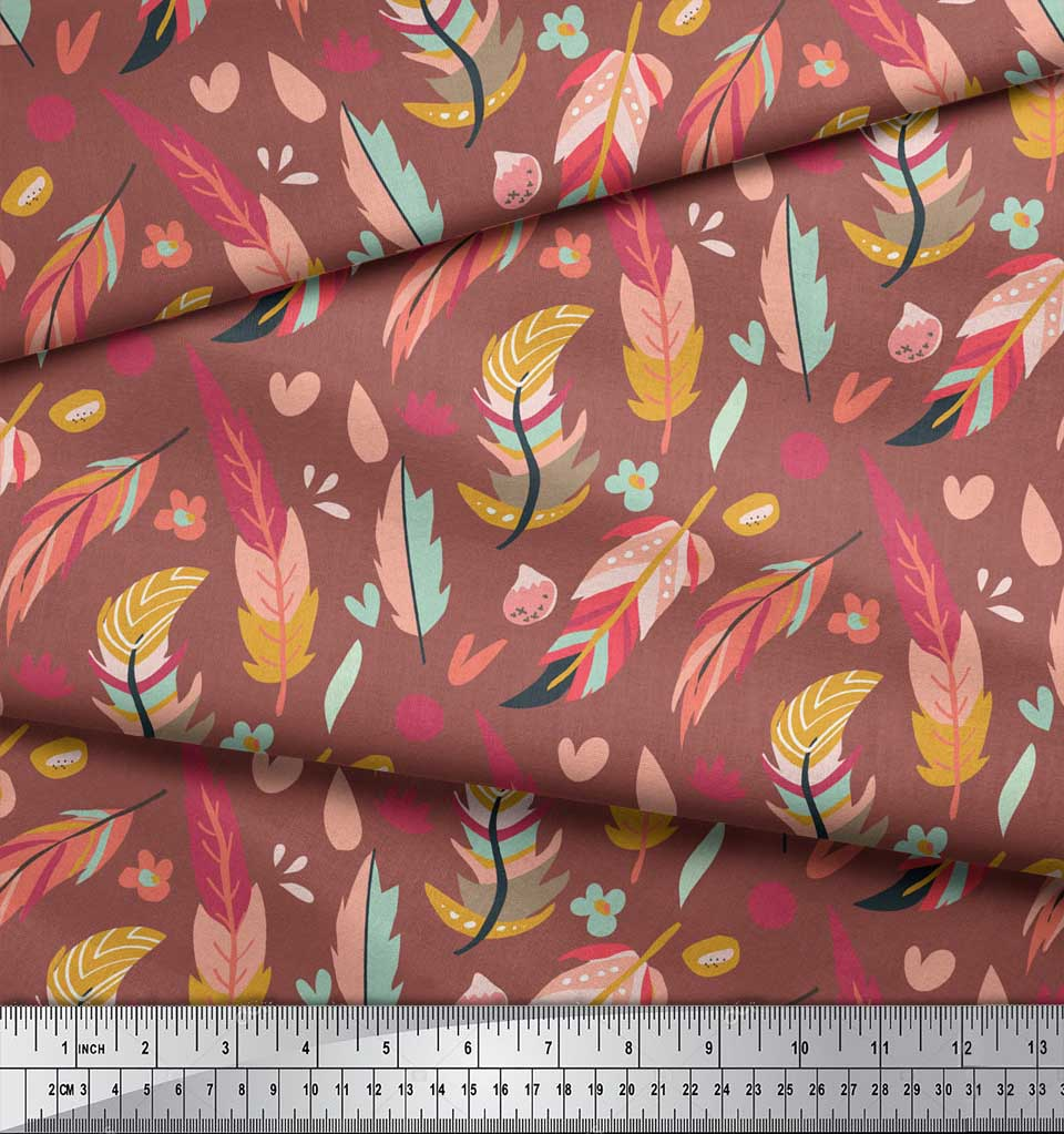 Soimoi-Brown-Cotton-Poplin-Fabric-Artistic-Feather-Print-Fabric-dkV thumbnail 3