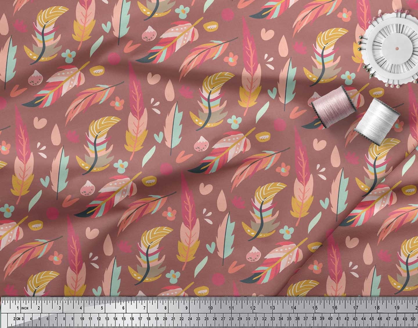 Soimoi-Brown-Cotton-Poplin-Fabric-Artistic-Feather-Print-Fabric-dkV thumbnail 4