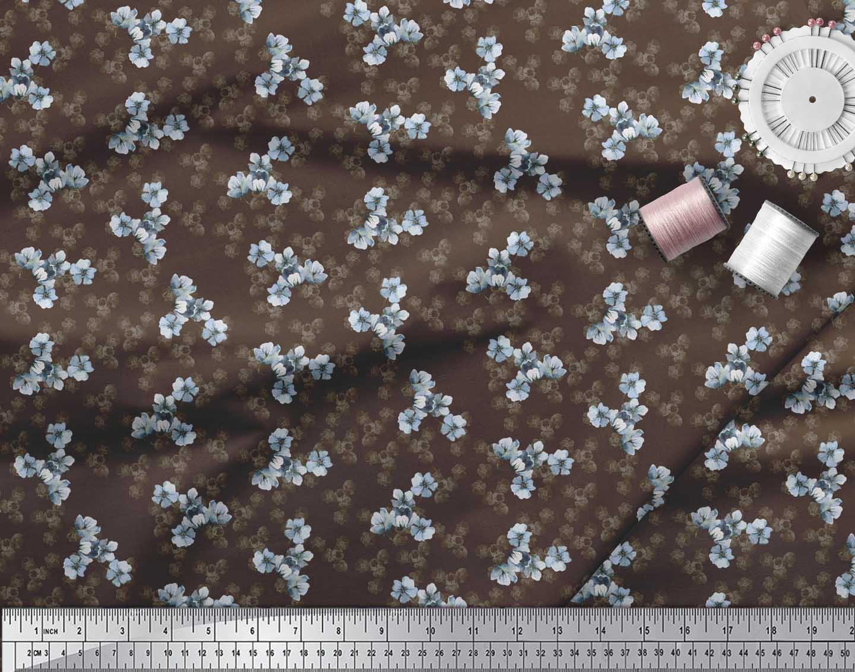 Soimoi-Brown-Cotton-Poplin-Fabric-Periwinkle-Floral-Printed-Fabric-wSY thumbnail 3