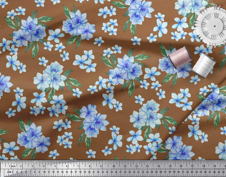 Soimoi-Brown-Cotton-Poplin-Fabric-Leaves-amp-Periwinkle-Floral-Print-jFt thumbnail 3