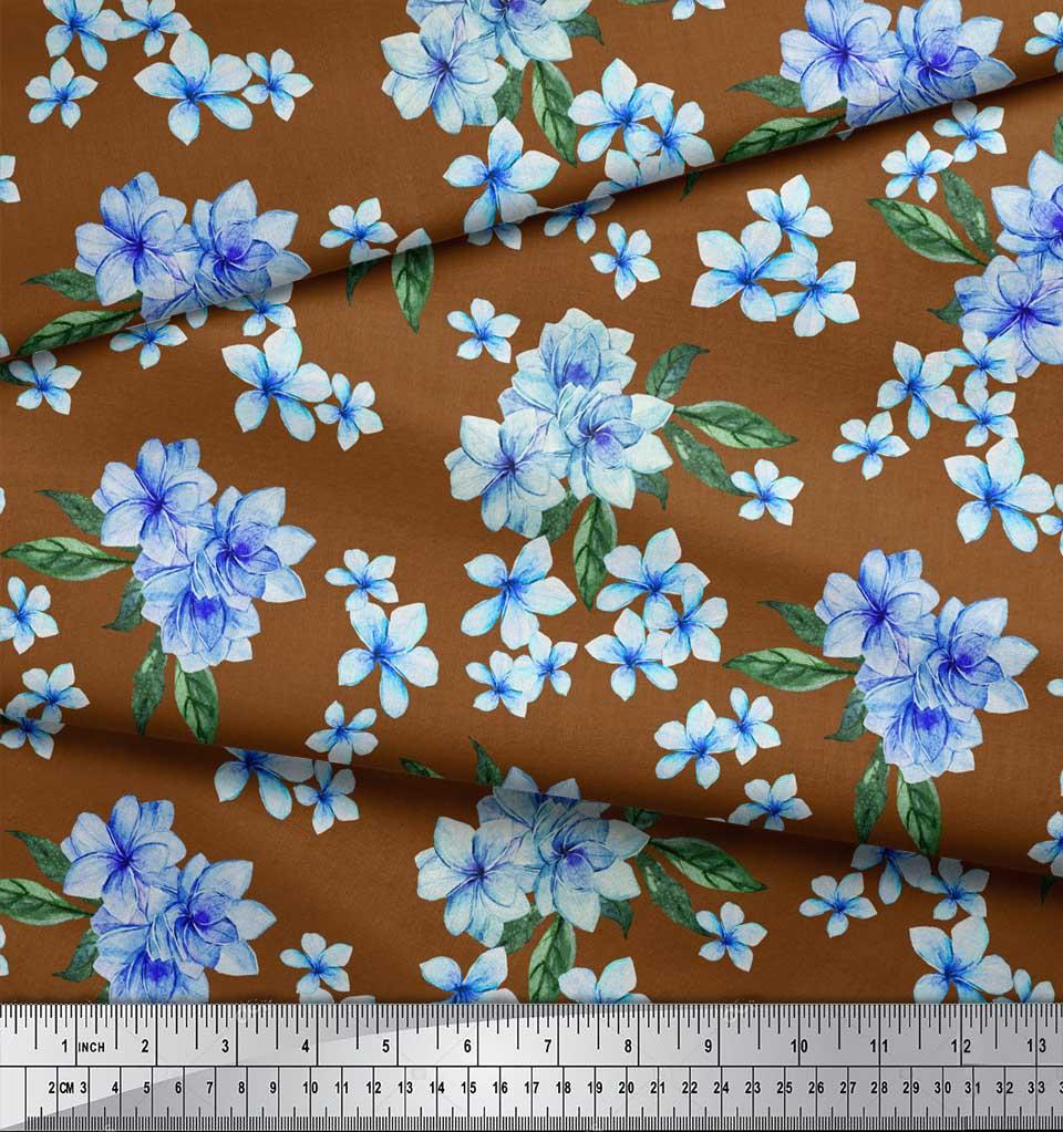 Soimoi-Brown-Cotton-Poplin-Fabric-Leaves-amp-Periwinkle-Floral-Print-jFt thumbnail 4