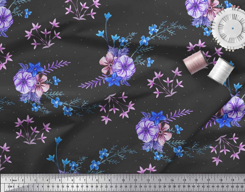 Soimoi-Black-Cotton-Poplin-Fabric-Leaves-amp-Periwinkle-Floral-Print-LJH thumbnail 3