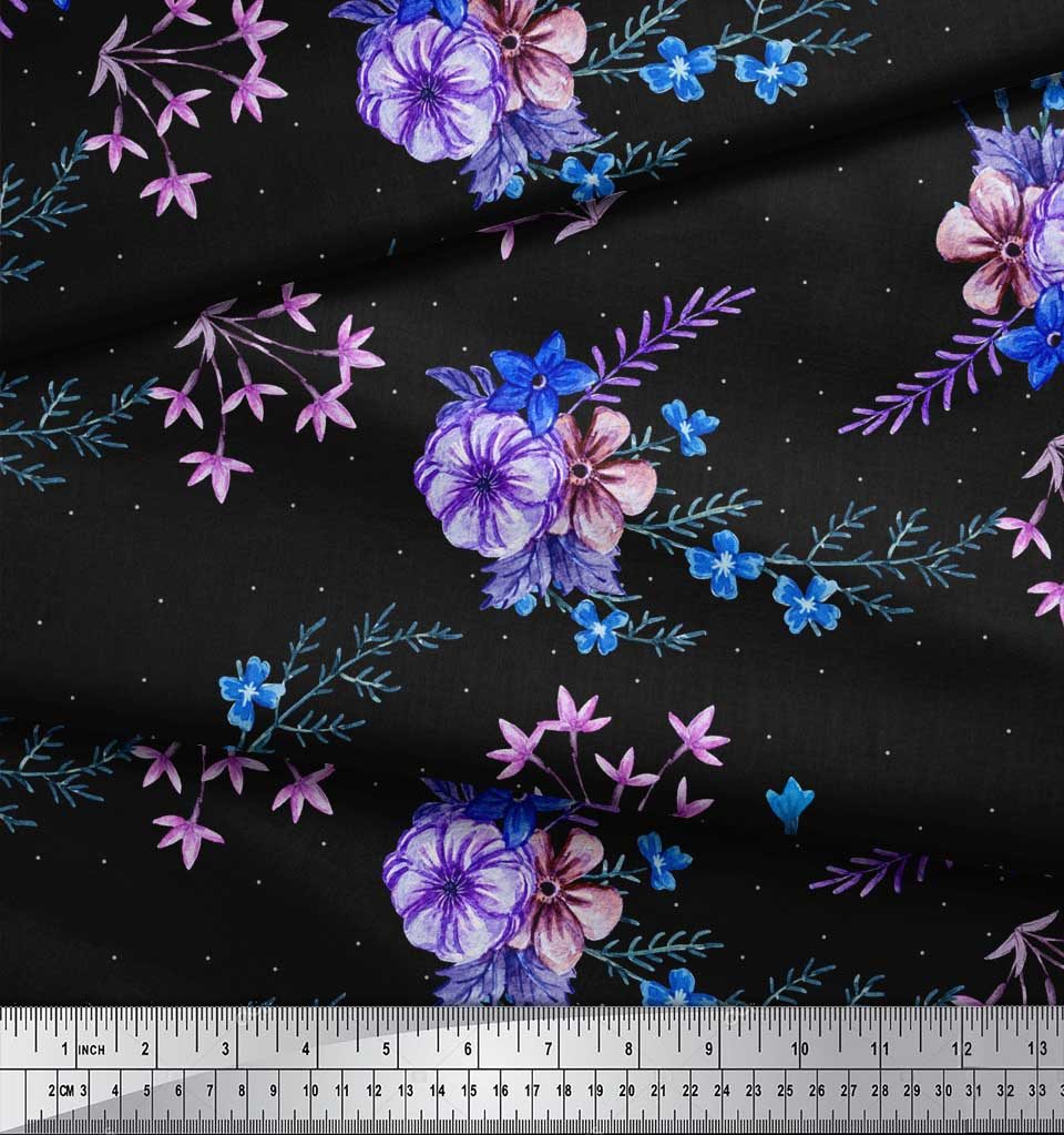 Soimoi-Black-Cotton-Poplin-Fabric-Leaves-amp-Periwinkle-Floral-Print-LJH thumbnail 4
