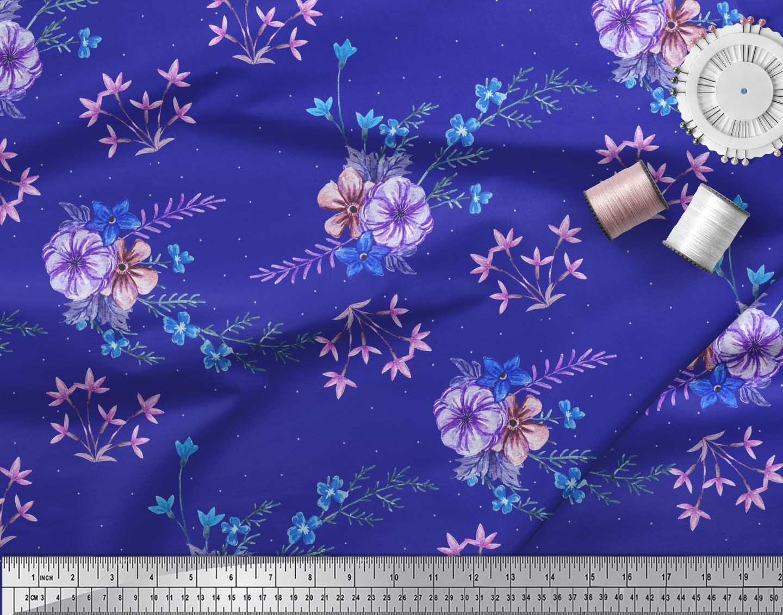 Soimoi-Blue-Cotton-Poplin-Fabric-Leaves-amp-Periwinkle-Floral-Printed-kV4 thumbnail 3