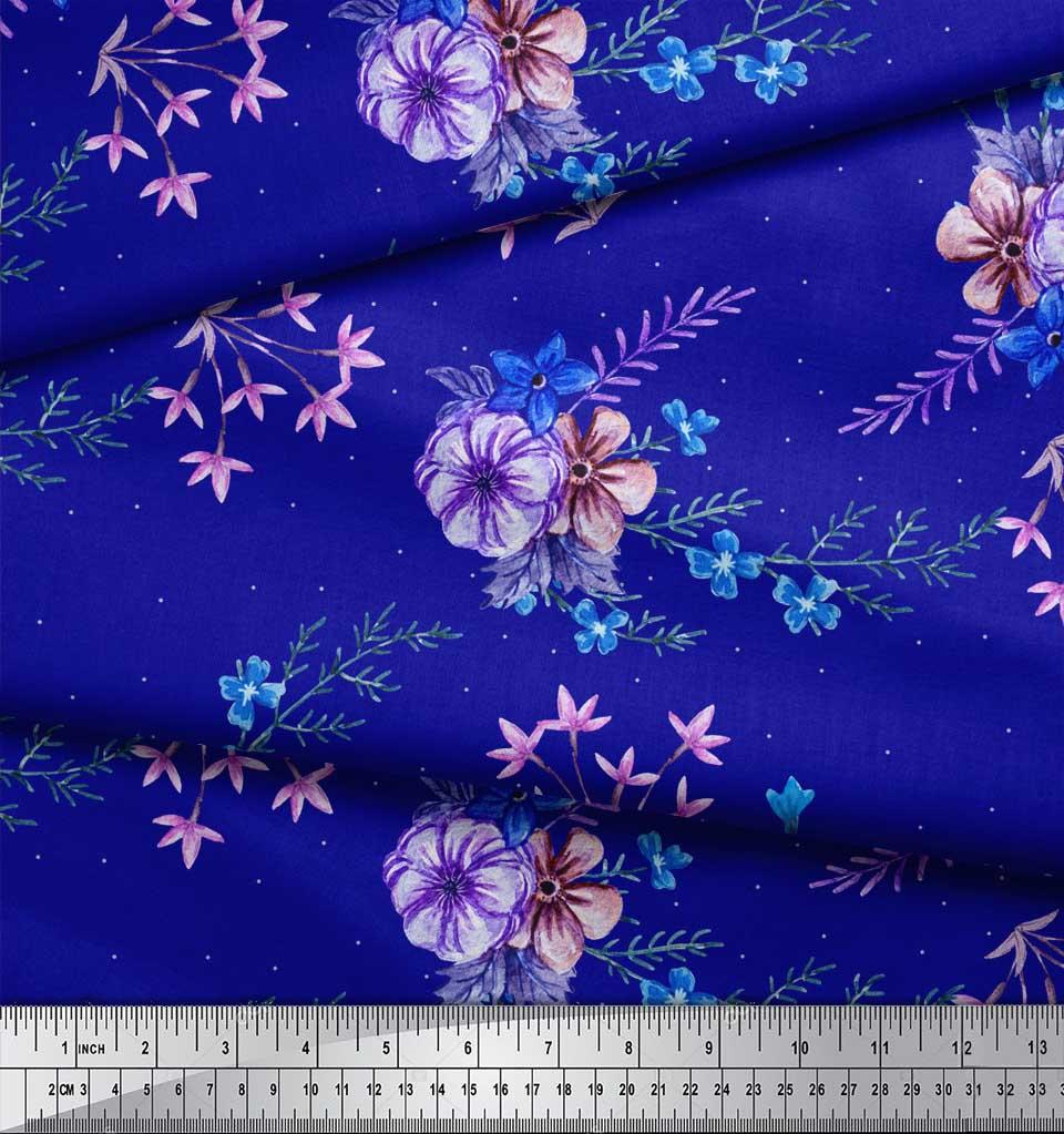 Soimoi-Blue-Cotton-Poplin-Fabric-Leaves-amp-Periwinkle-Floral-Printed-kV4 thumbnail 4
