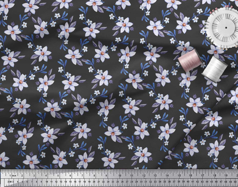 Soimoi-Black-Cotton-Poplin-Fabric-Leaves-amp-Periwinkle-Floral-Printed-0mS thumbnail 3