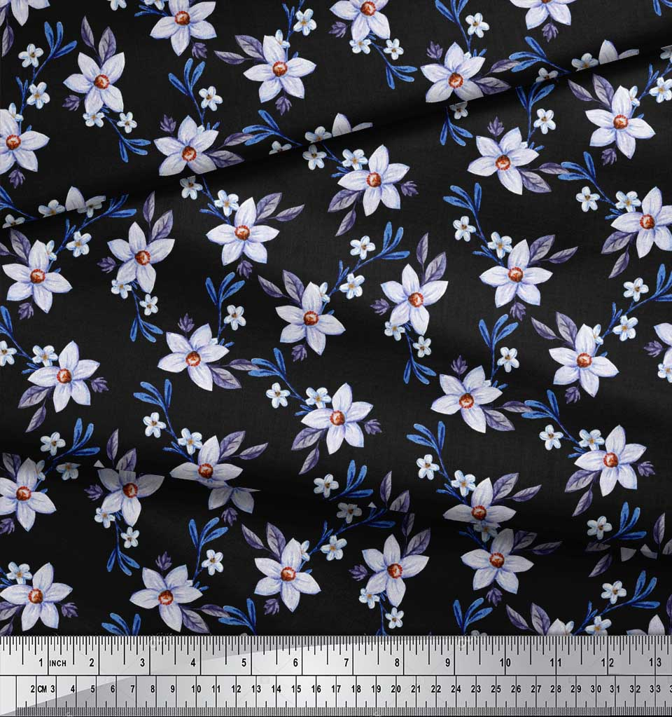 Soimoi-Black-Cotton-Poplin-Fabric-Leaves-amp-Periwinkle-Floral-Printed-0mS thumbnail 4