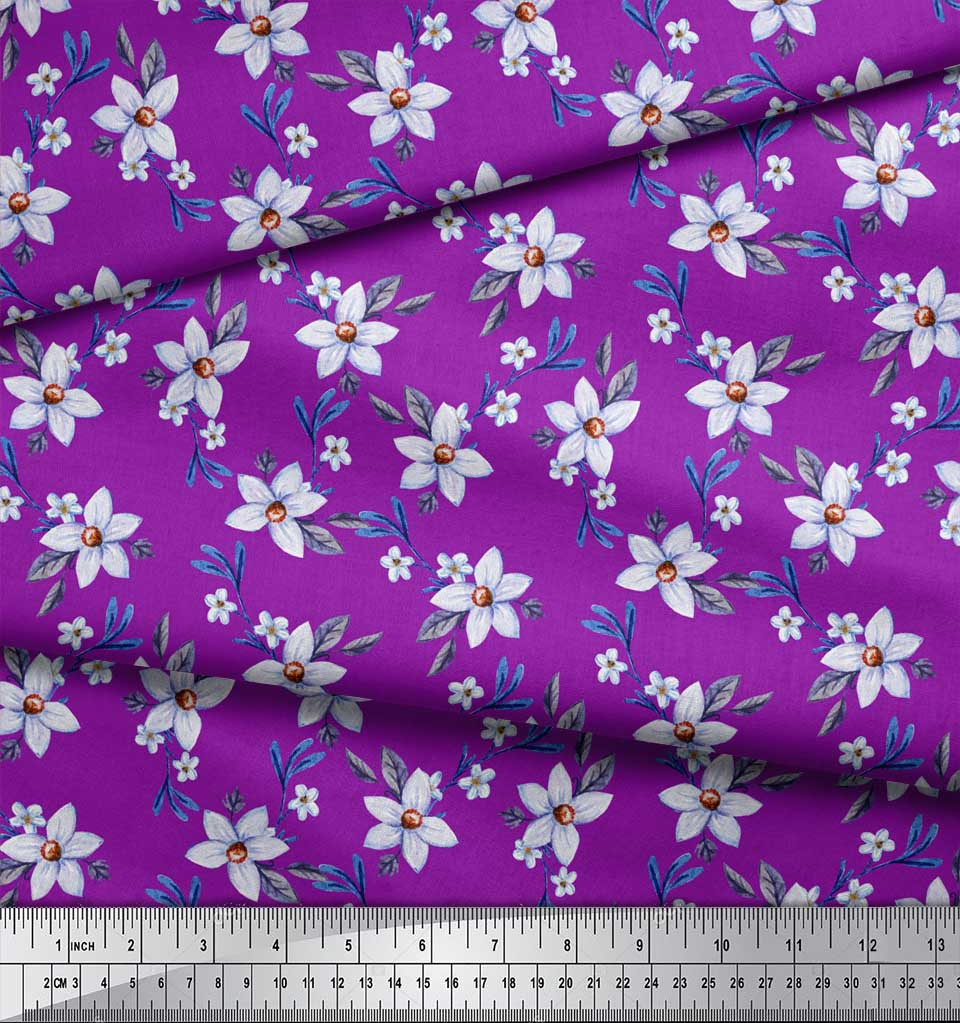 Soimoi-Purple-Cotton-Poplin-Fabric-Leaves-amp-Periwinkle-Floral-Print-n36 thumbnail 3
