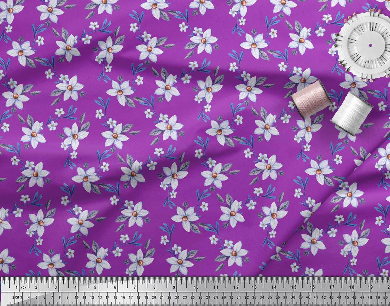 Soimoi-Purple-Cotton-Poplin-Fabric-Leaves-amp-Periwinkle-Floral-Print-n36 thumbnail 4