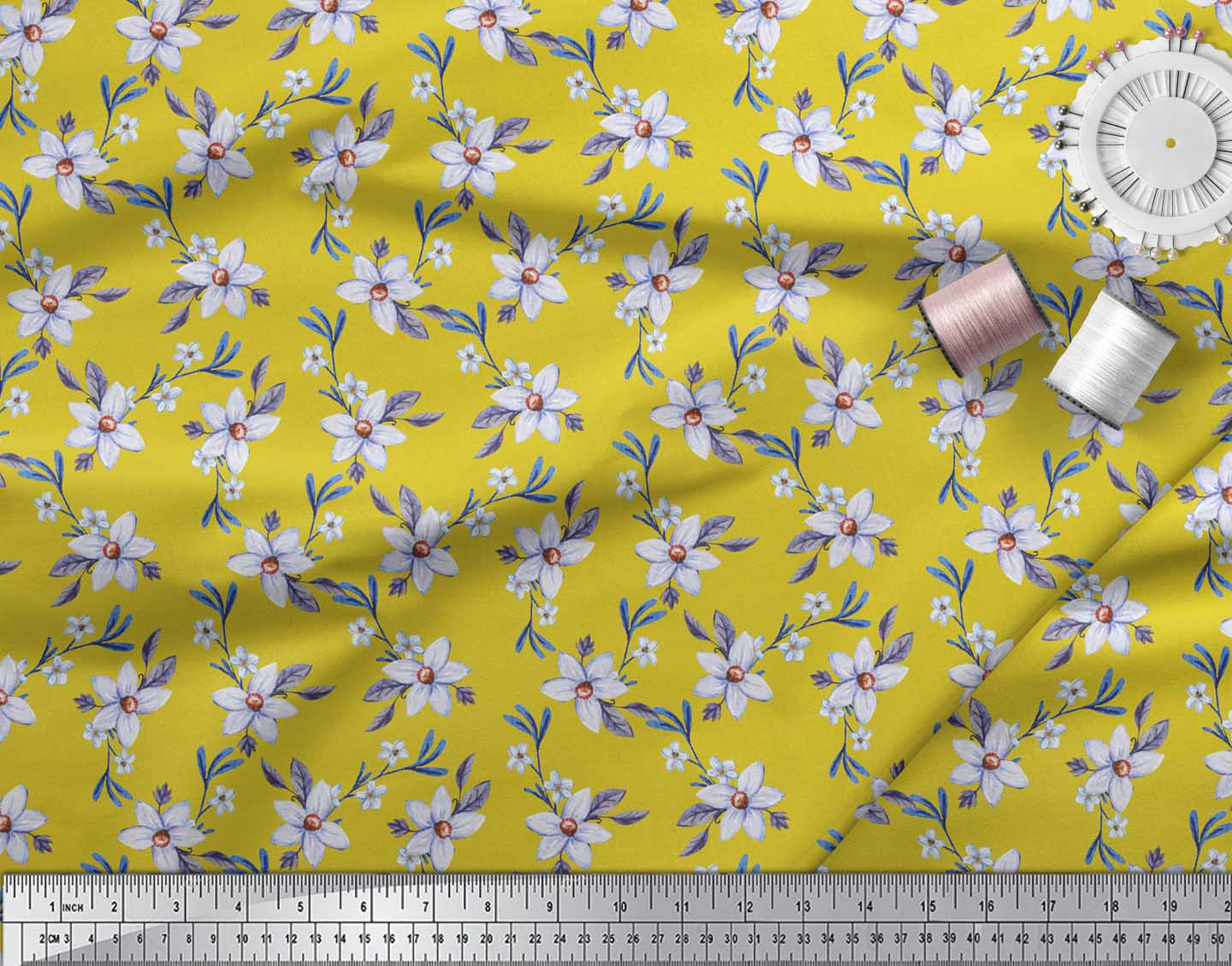 Soimoi-Yellow-Cotton-Poplin-Fabric-Leaves-amp-Periwinkle-Floral-Printed-0FK thumbnail 3