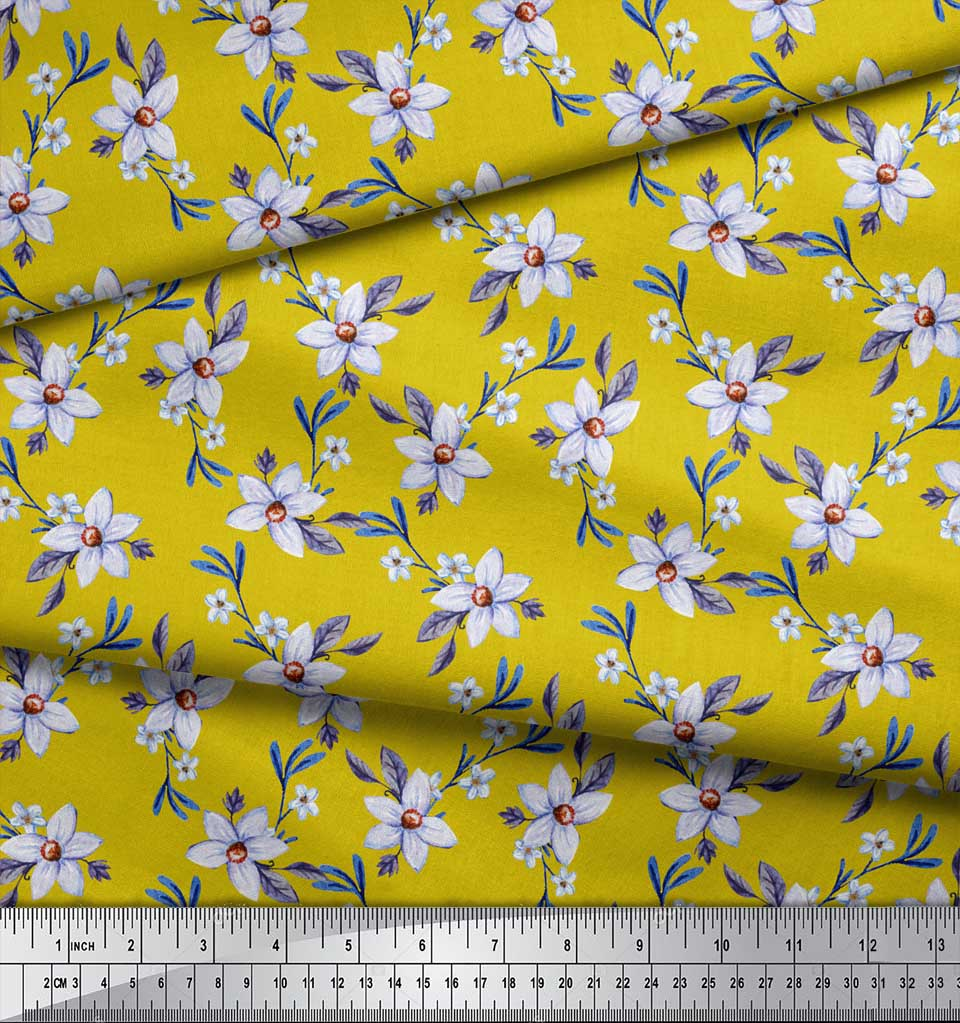 Soimoi-Yellow-Cotton-Poplin-Fabric-Leaves-amp-Periwinkle-Floral-Printed-0FK thumbnail 4