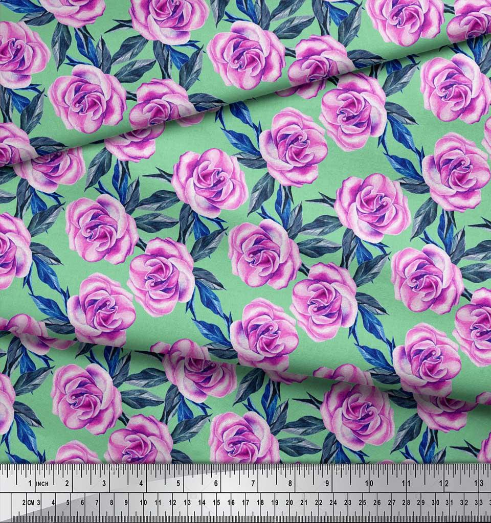Soimoi-Green-Cotton-Poplin-Fabric-Leaves-amp-Begonia-Floral-Print-8vB thumbnail 3